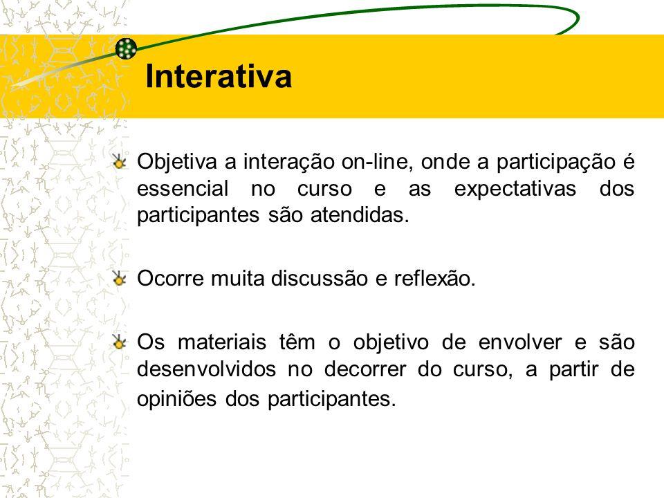 Interativa Objetiva a interação on-line, onde a participação é essencial no curso e as expectativas dos participantes são atendidas.
