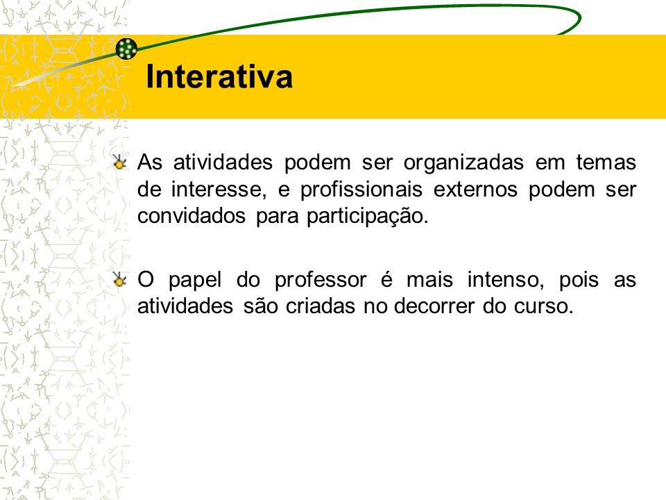 Interativa As atividades podem ser organizadas em temas de interesse, e profissionais externos podem ser convidados para participação.