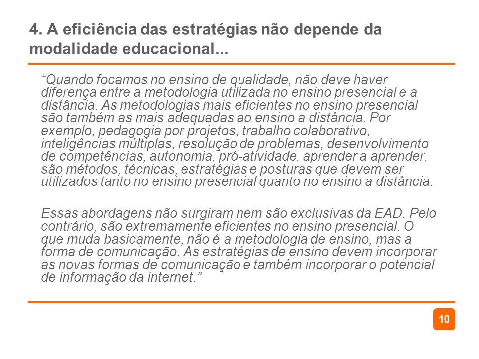 4. A eficiência das estratégias não depende da modalidade educacional...