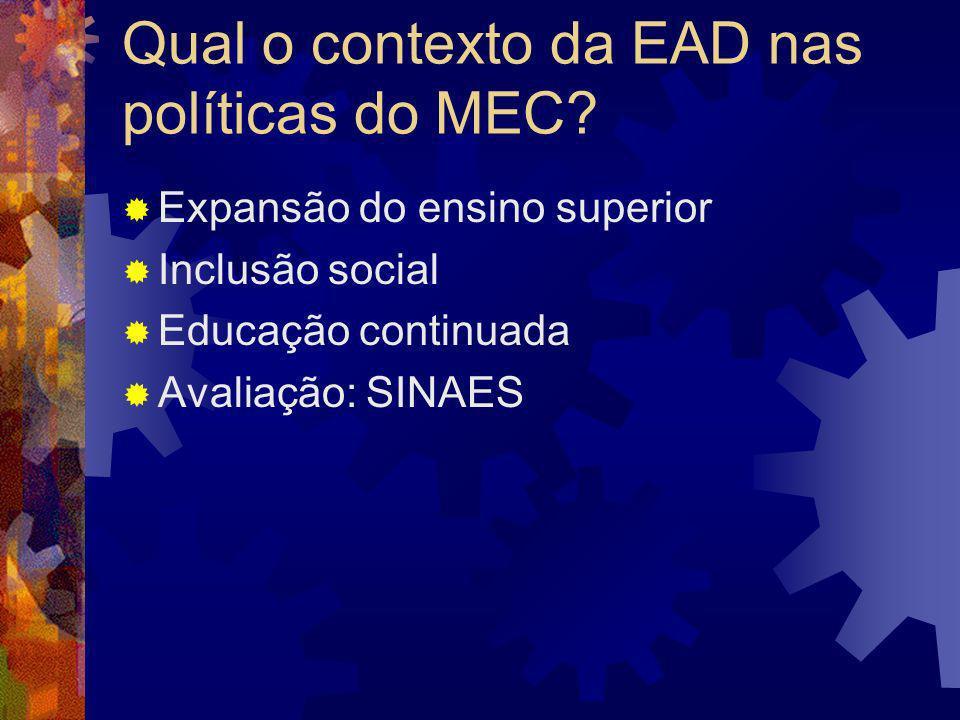 Qual o contexto da EAD nas políticas do MEC
