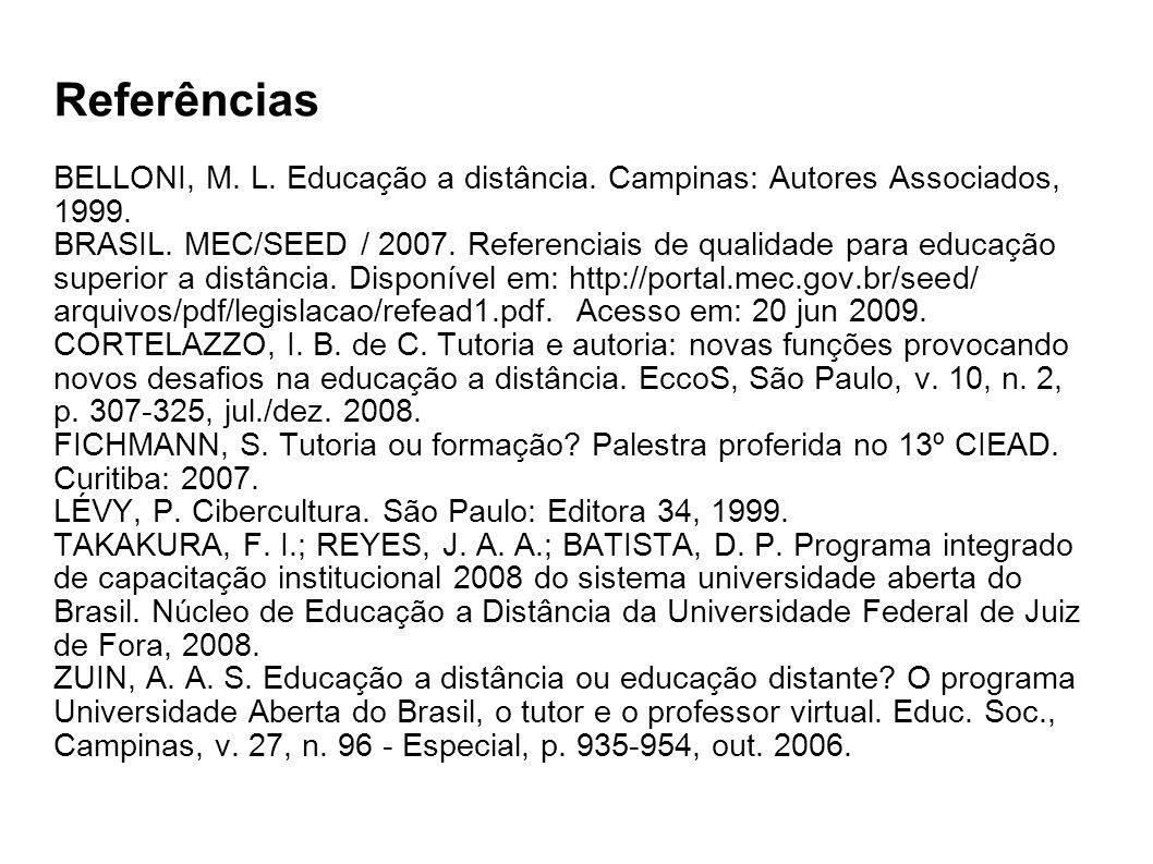 Referências BELLONI, M. L. Educação a distância. Campinas: Autores Associados, 1999.