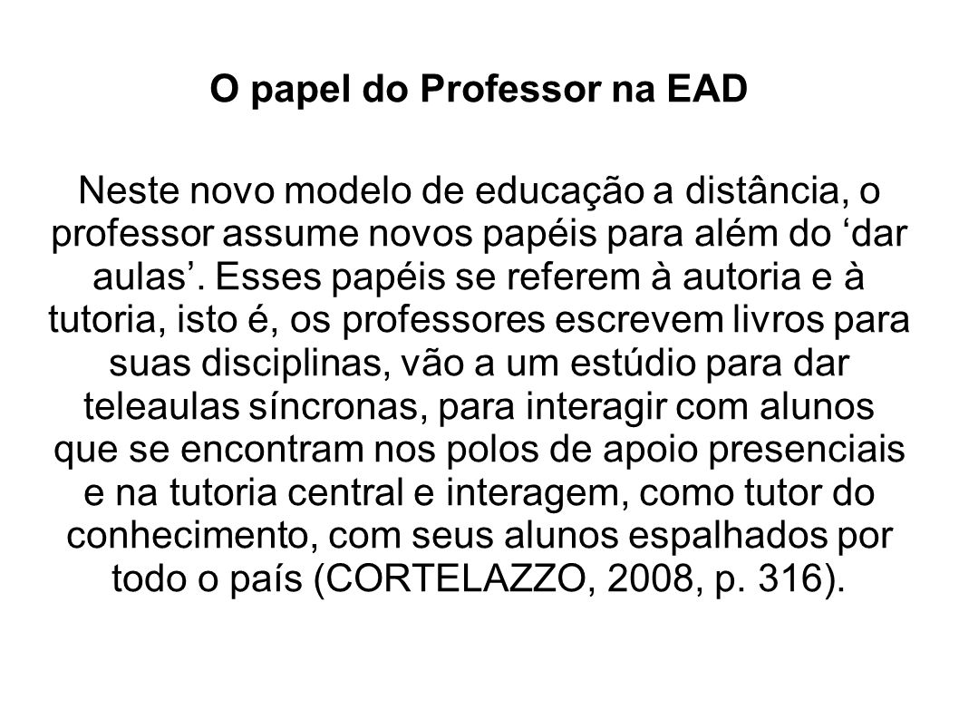 O papel do Professor na EAD