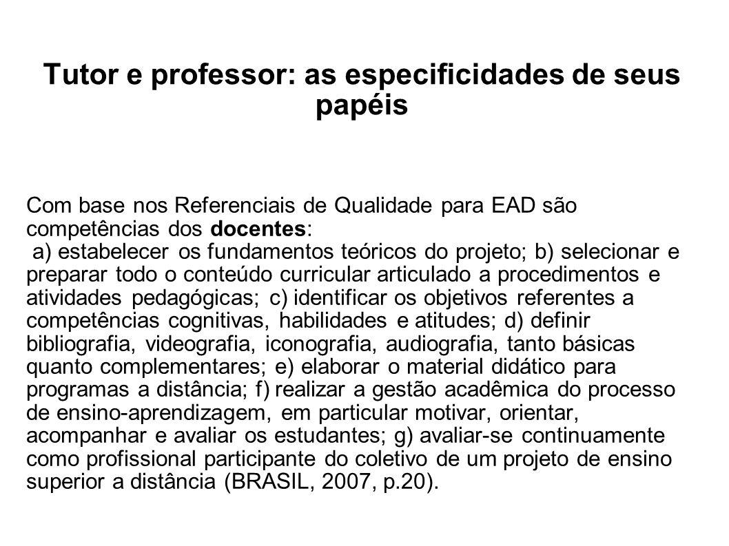 Tutor e professor: as especificidades de seus papéis