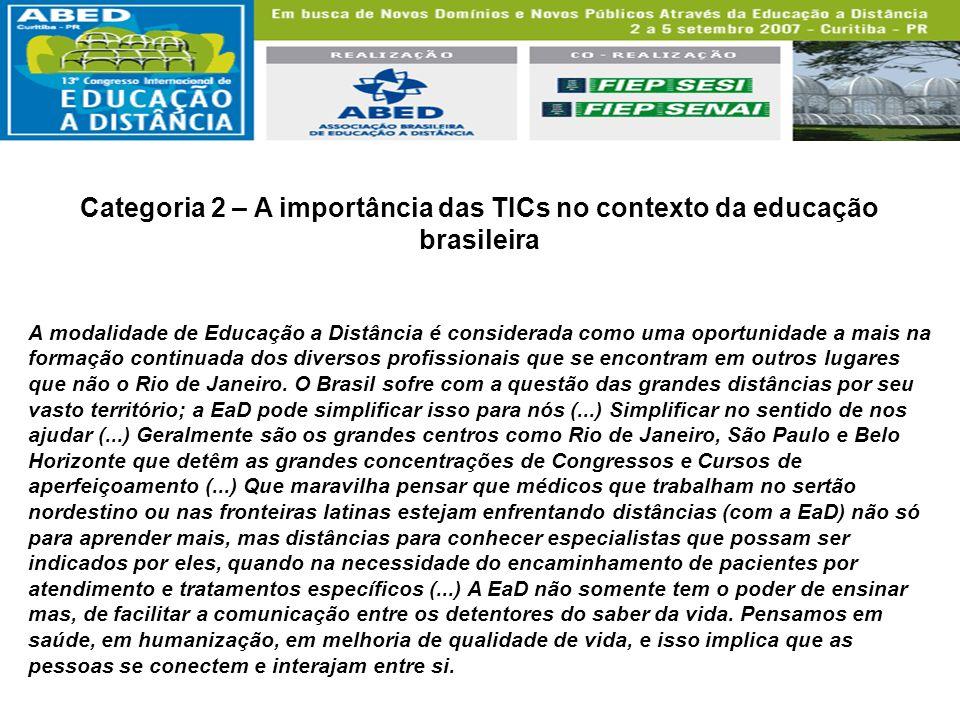 Categoria 2 – A importância das TICs no contexto da educação brasileira