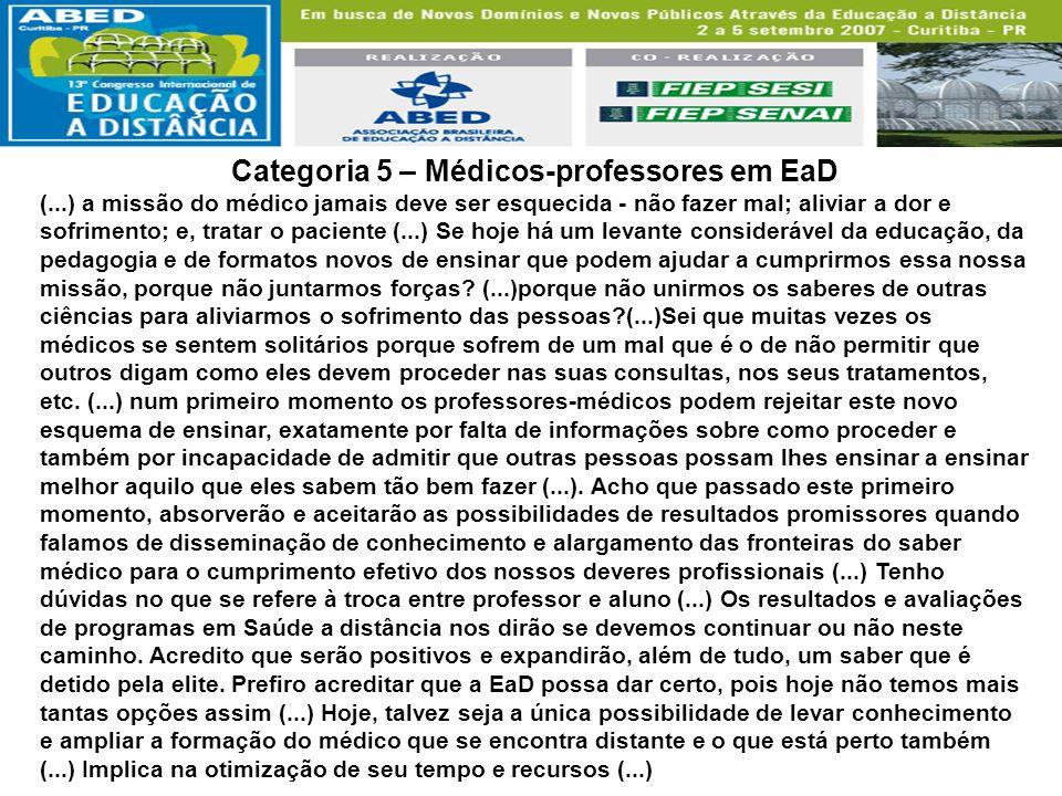 Categoria 5 – Médicos-professores em EaD