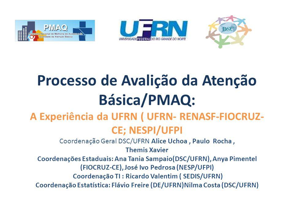 Processo de Avalição da Atenção Básica/PMAQ: A Experiência da UFRN ( UFRN- RENASF-FIOCRUZ-CE; NESPI/UFPI Coordenação Geral DSC/UFRN Alice Uchoa , Paulo Rocha , Themis Xavier Coordenações Estaduais: Ana Tania Sampaio(DSC/UFRN), Anya Pimentel (FIOCRUZ-CE), José Ivo Pedrosa (NESP/UFPI) Coordenação TI : Ricardo Valentim ( SEDIS/UFRN) Coordenação Estatística: Flávio Freire (DE/UFRN)Nilma Costa (DSC/UFRN)