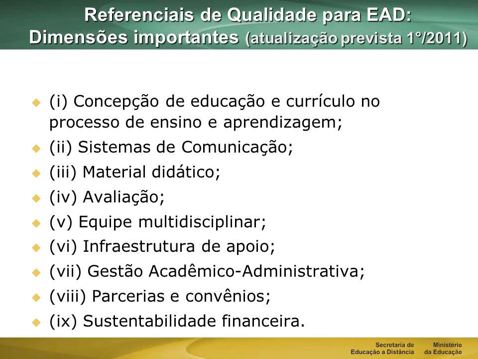 Referenciais de Qualidade para EAD: Dimensões importantes (atualização prevista 1°/2011)