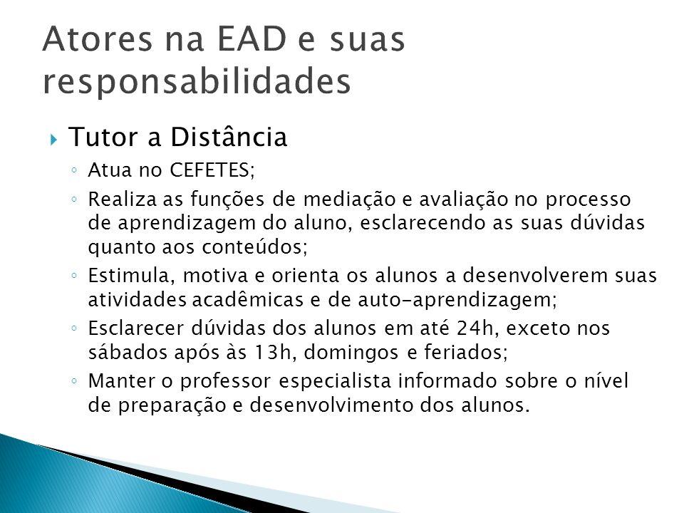 Atores na EAD e suas responsabilidades