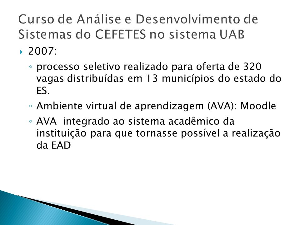 Curso de Análise e Desenvolvimento de Sistemas do CEFETES no sistema UAB