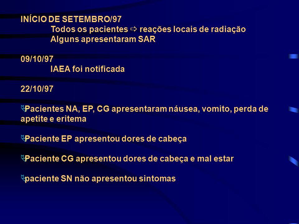 INÍCIO DE SETEMBRO/97 Todos os pacientes  reações locais de radiação. Alguns apresentaram SAR. 09/10/97.