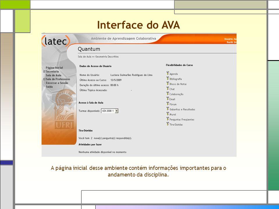 Interface do AVA A página inicial desse ambiente contém informações importantes para o andamento da disciplina.