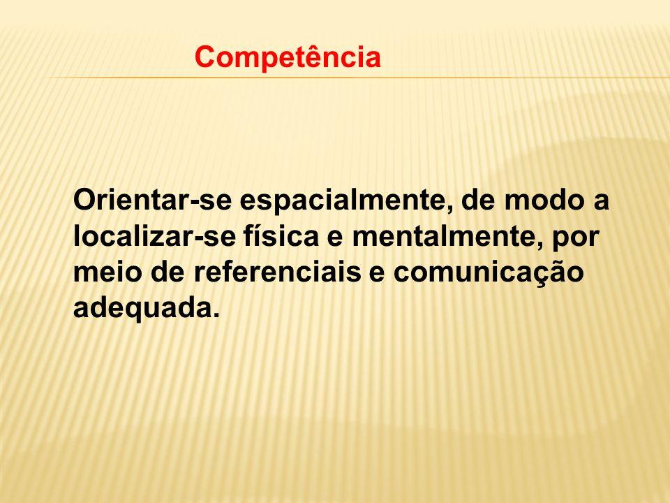 Competência Orientar-se espacialmente, de modo a localizar-se física e mentalmente, por meio de referenciais e comunicação adequada.