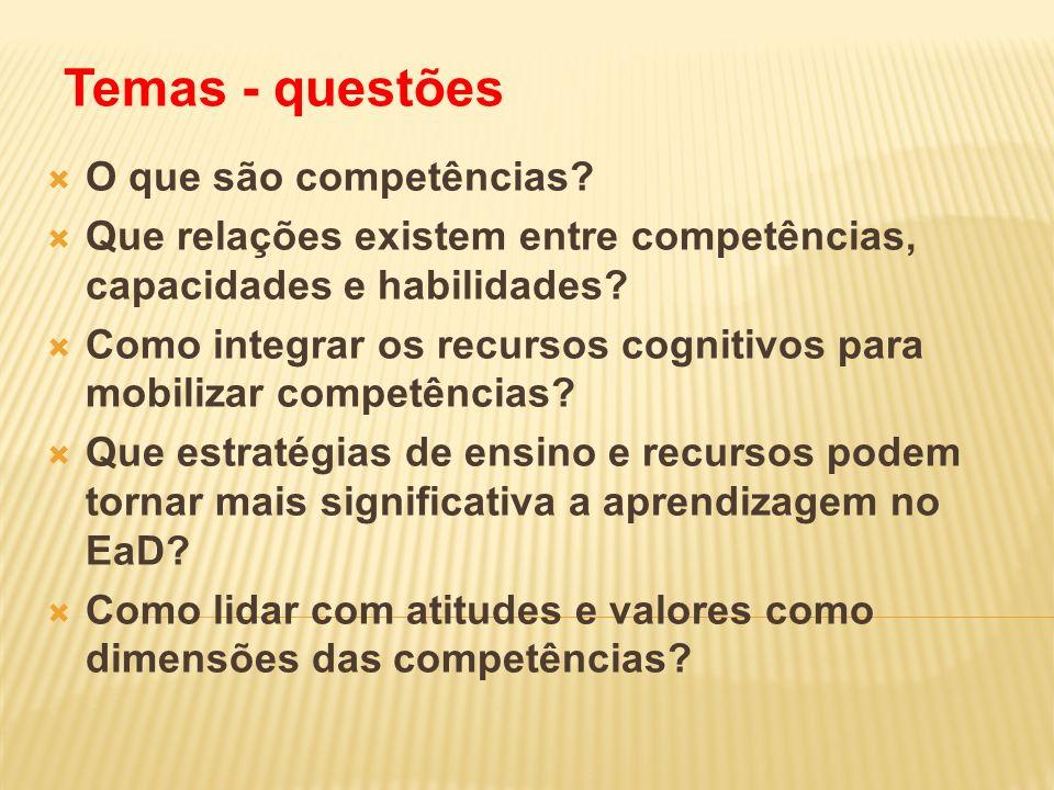 Temas - questões O que são competências