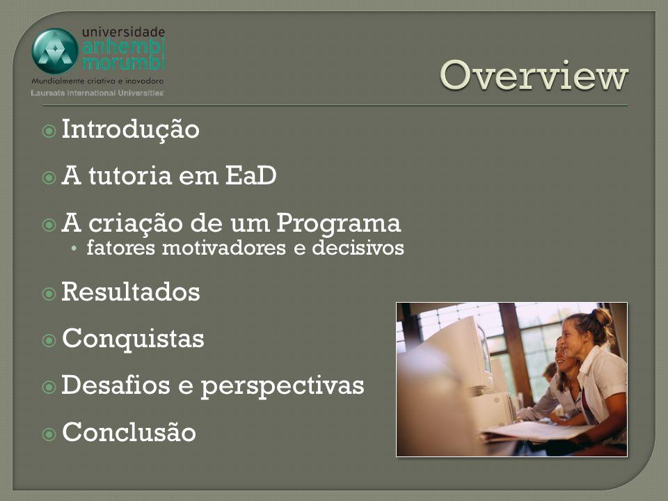 Overview Introdução A tutoria em EaD A criação de um Programa