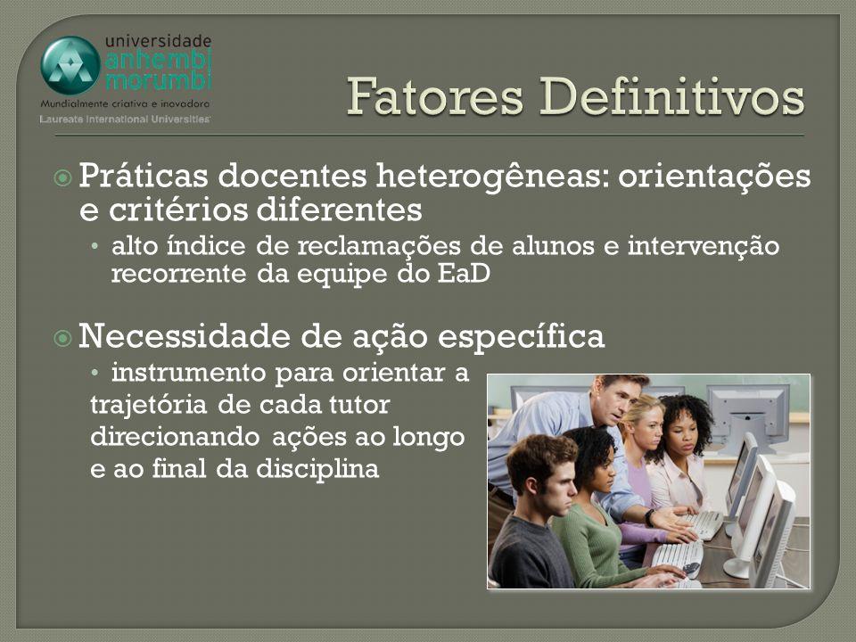 Fatores Definitivos Práticas docentes heterogêneas: orientações e critérios diferentes.