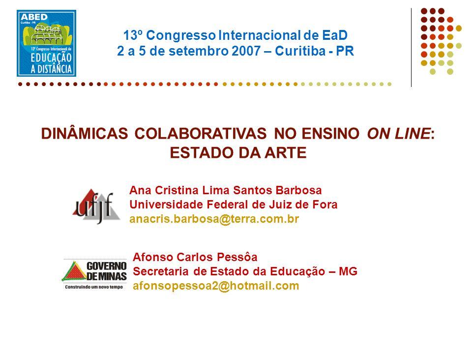 DINÂMICAS COLABORATIVAS NO ENSINO ON LINE: