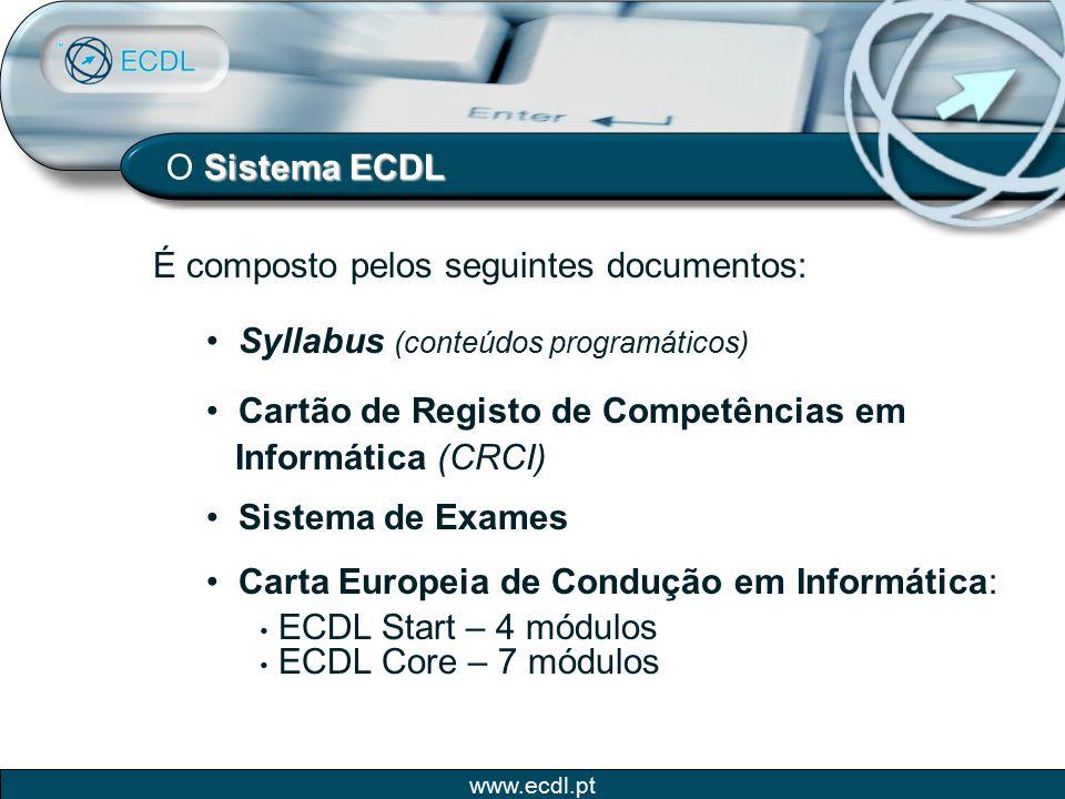 O Sistema ECDL É composto pelos seguintes documentos: Syllabus (conteúdos programáticos) Cartão de Registo de Competências em.