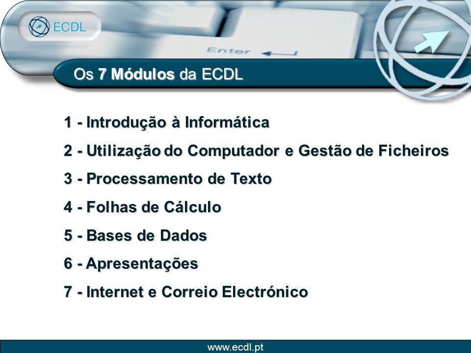 Os 7 Módulos da ECDL 1 - Introdução à Informática. 2 - Utilização do Computador e Gestão de Ficheiros.