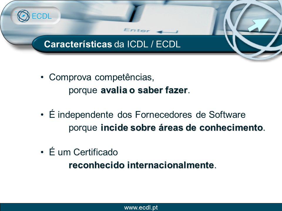 Características da ICDL / ECDL