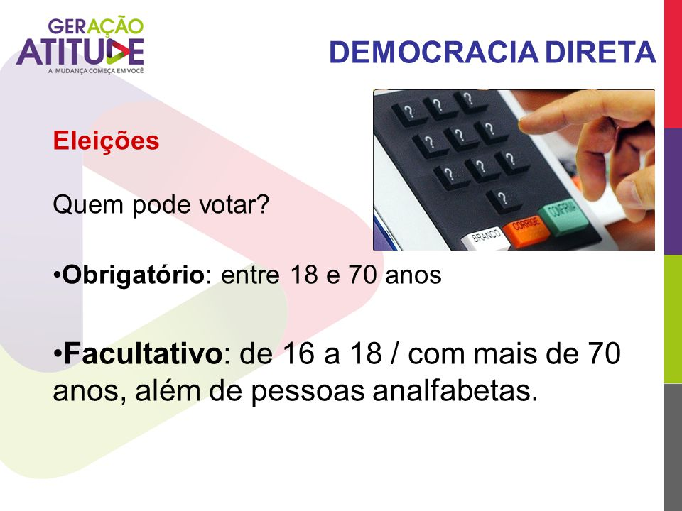 DEMOCRACIA DIRETA Eleições. Quem pode votar Obrigatório: entre 18 e 70 anos.