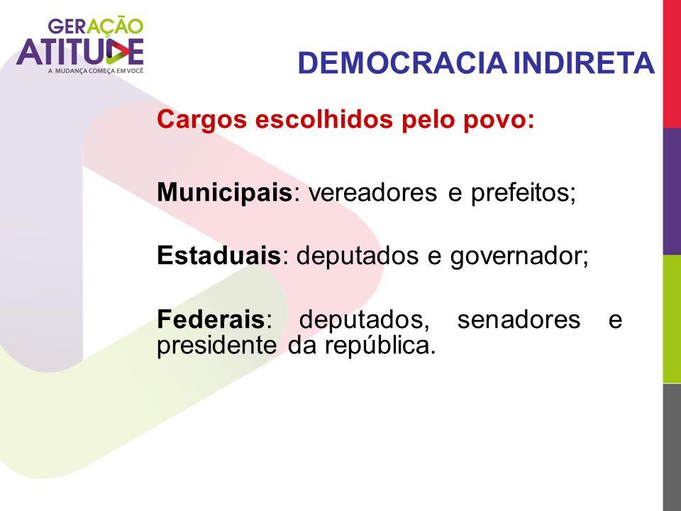 DEMOCRACIA INDIRETA Cargos escolhidos pelo povo:
