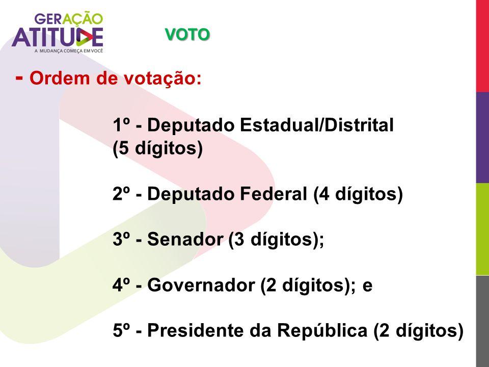 - Ordem de votação: 1º - Deputado Estadual/Distrital (5 dígitos)