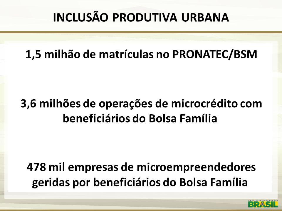 INCLUSÃO PRODUTIVA URBANA 1,5 milhão de matrículas no PRONATEC/BSM