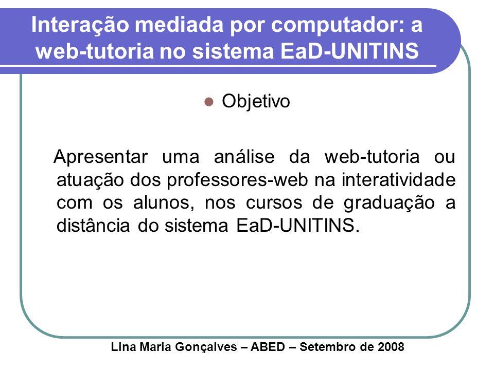 Interação mediada por computador: a web-tutoria no sistema EaD-UNITINS