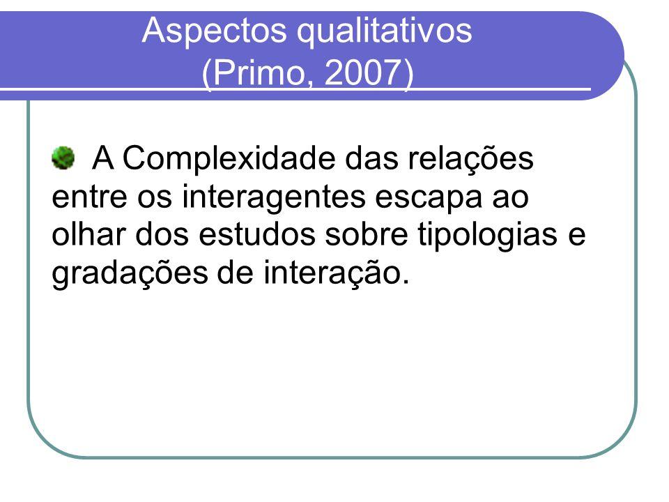 Aspectos qualitativos (Primo, 2007)
