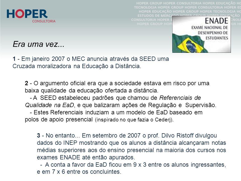 Era uma vez... 1 - Em janeiro 2007 o MEC anuncia através da SEED uma Cruzada moralizadora na Educação a Distância.