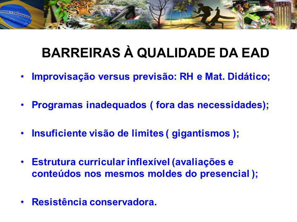 BARREIRAS À QUALIDADE DA EAD
