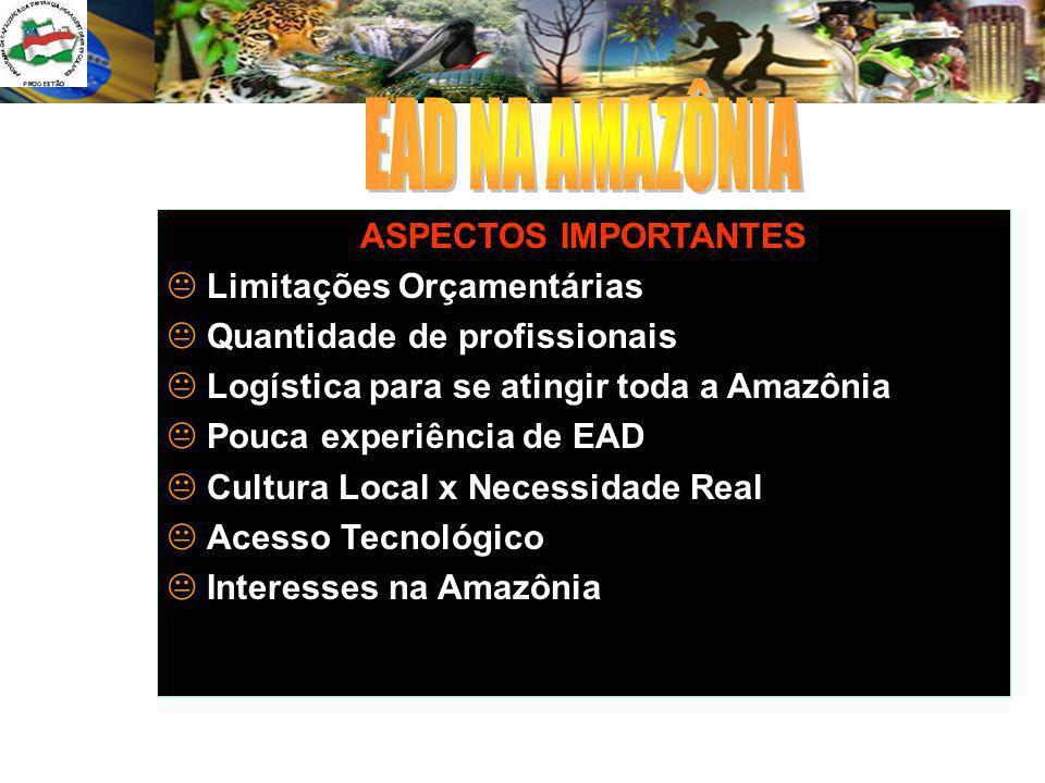 EAD NA AMAZÔNIA ASPECTOS IMPORTANTES Limitações Orçamentárias
