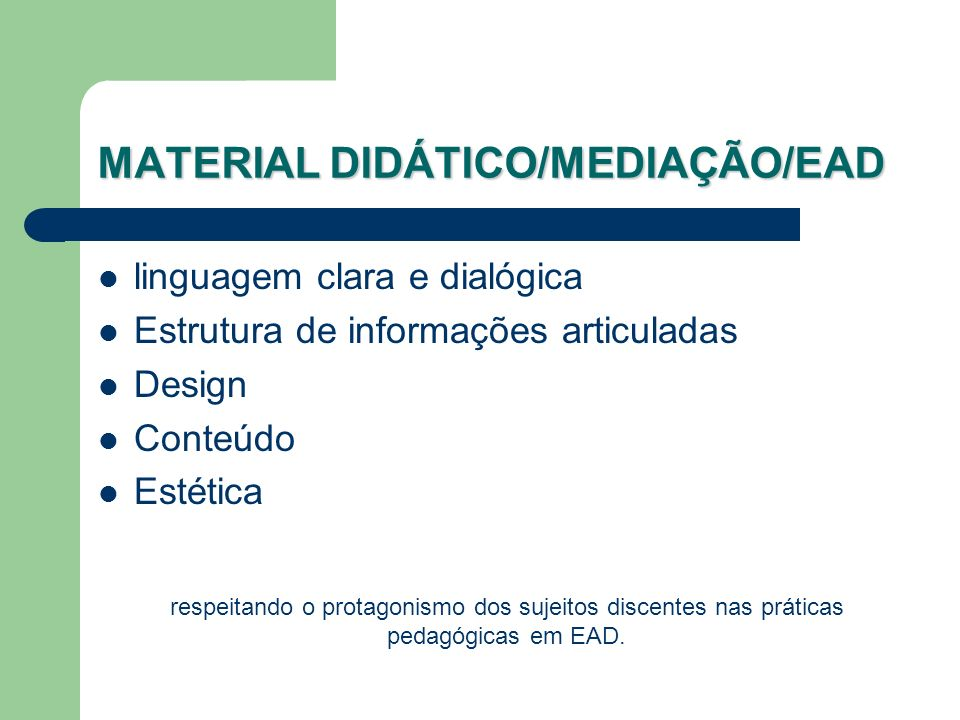 MATERIAL DIDÁTICO/MEDIAÇÃO/EAD
