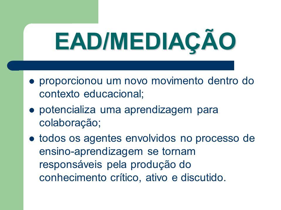 EAD/MEDIAÇÃO proporcionou um novo movimento dentro do contexto educacional; potencializa uma aprendizagem para colaboração;