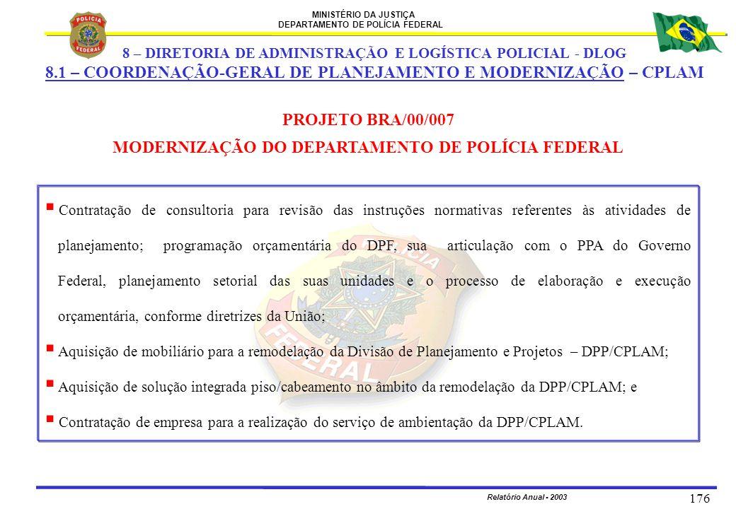 PROJETO BRA/00/007 MODERNIZAÇÃO DO DEPARTAMENTO DE POLÍCIA FEDERAL