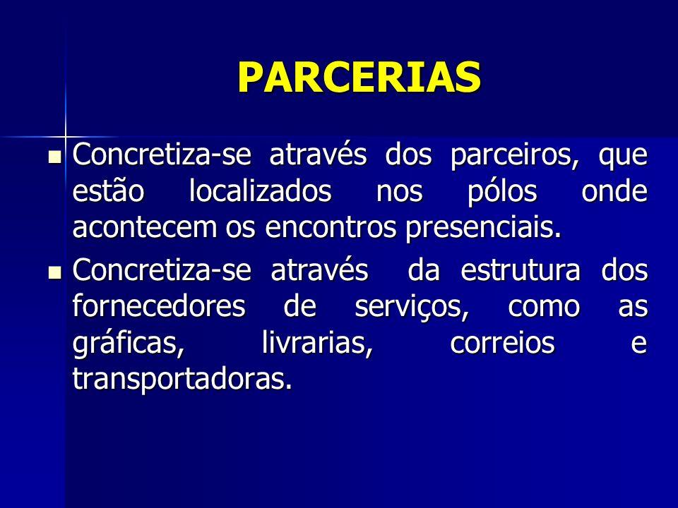 PARCERIAS Concretiza-se através dos parceiros, que estão localizados nos pólos onde acontecem os encontros presenciais.