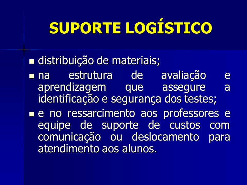 SUPORTE LOGÍSTICO distribuição de materiais;