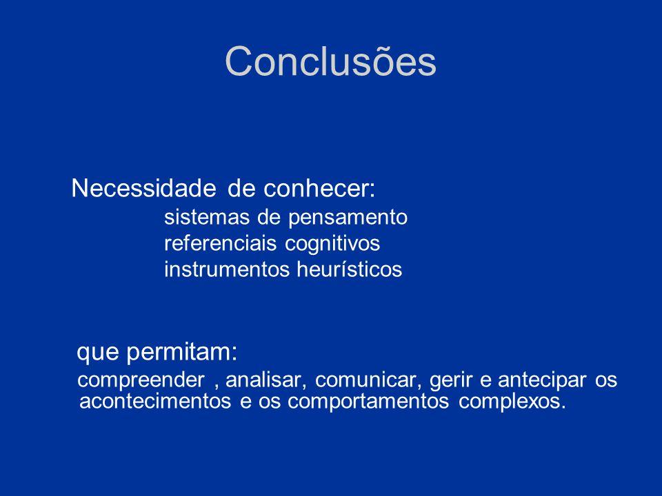 Conclusões que permitam: Necessidade de conhecer: