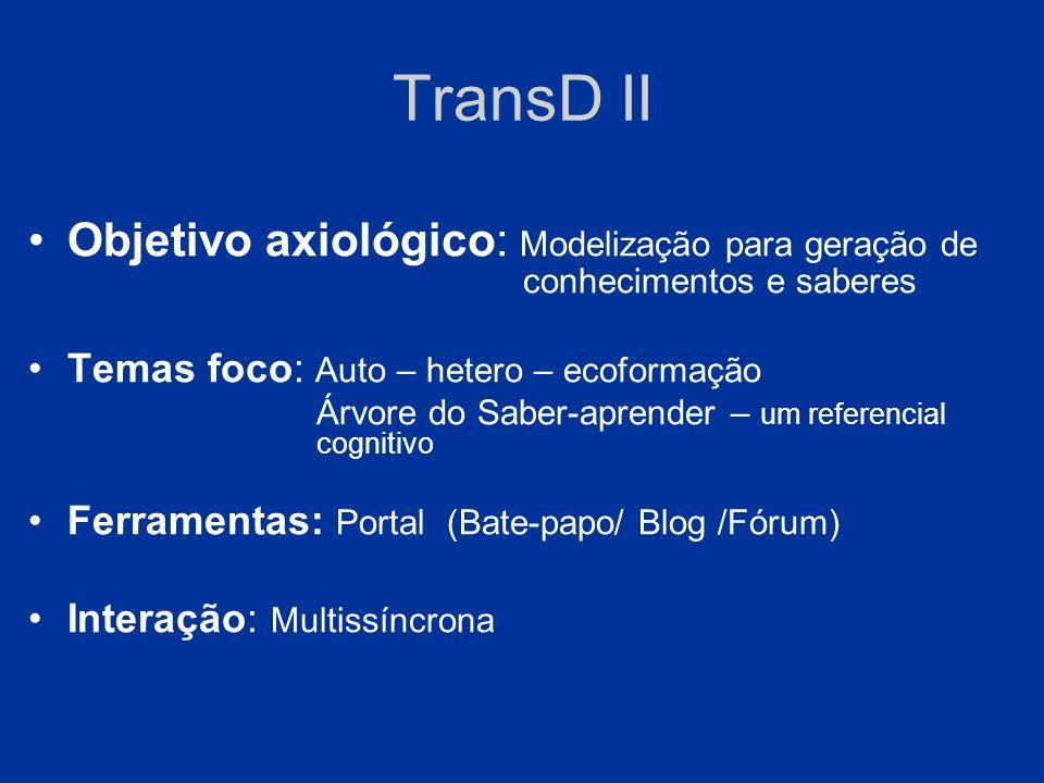 TransD II Objetivo axiológico: Modelização para geração de conhecimentos e saberes.