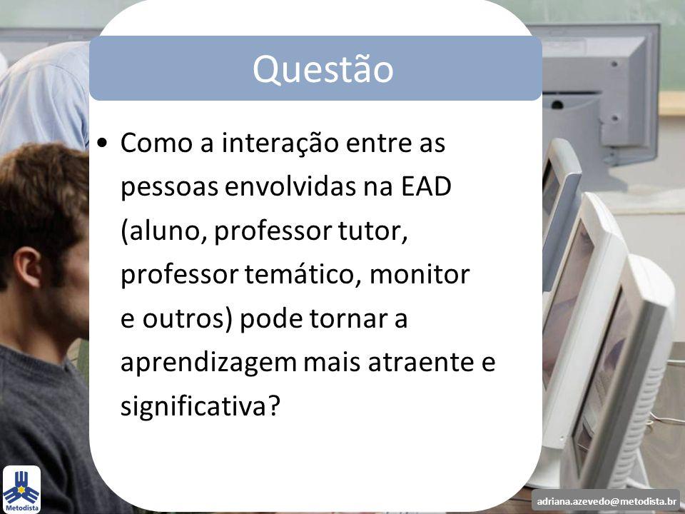 Questão Questão Como a interação entre as pessoas envolvidas na EAD