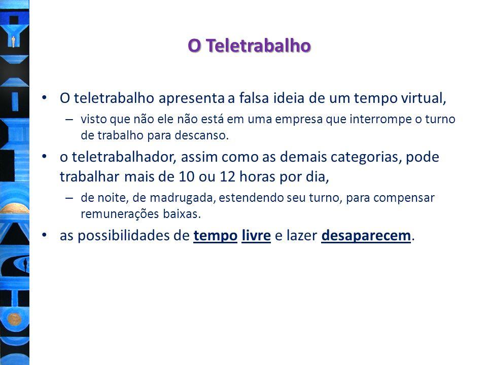 O TeletrabalhoO teletrabalho apresenta a falsa ideia de um tempo virtual,