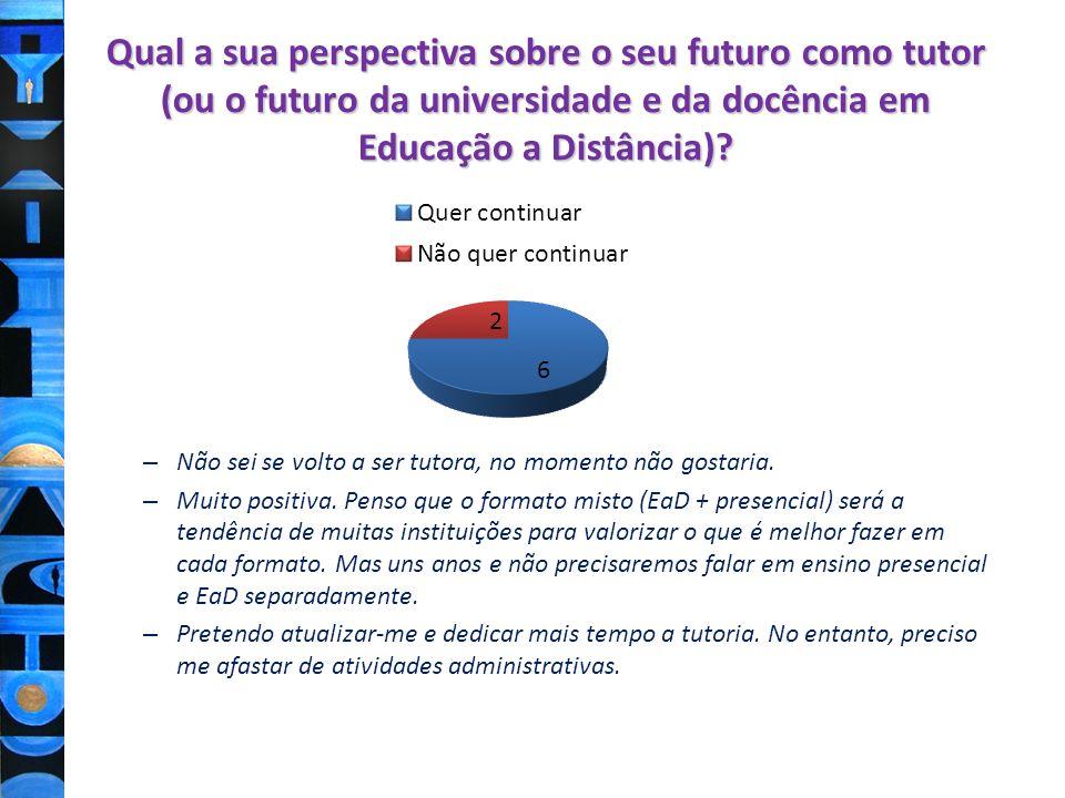 Qual a sua perspectiva sobre o seu futuro como tutor (ou o futuro da universidade e da docência em Educação a Distância)