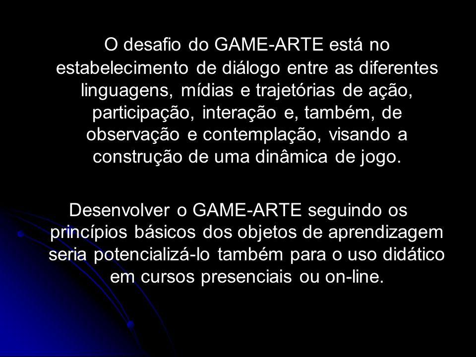 O desafio do GAME-ARTE está no estabelecimento de diálogo entre as diferentes linguagens, mídias e trajetórias de ação, participação, interação e, também, de observação e contemplação, visando a construção de uma dinâmica de jogo.