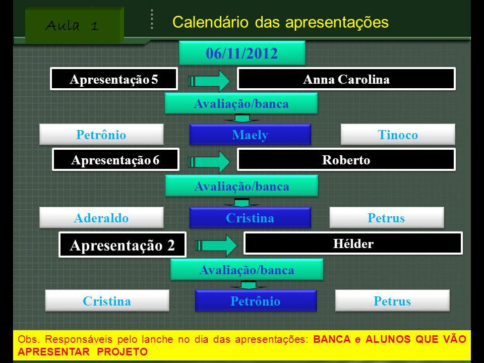 Calendário das apresentações
