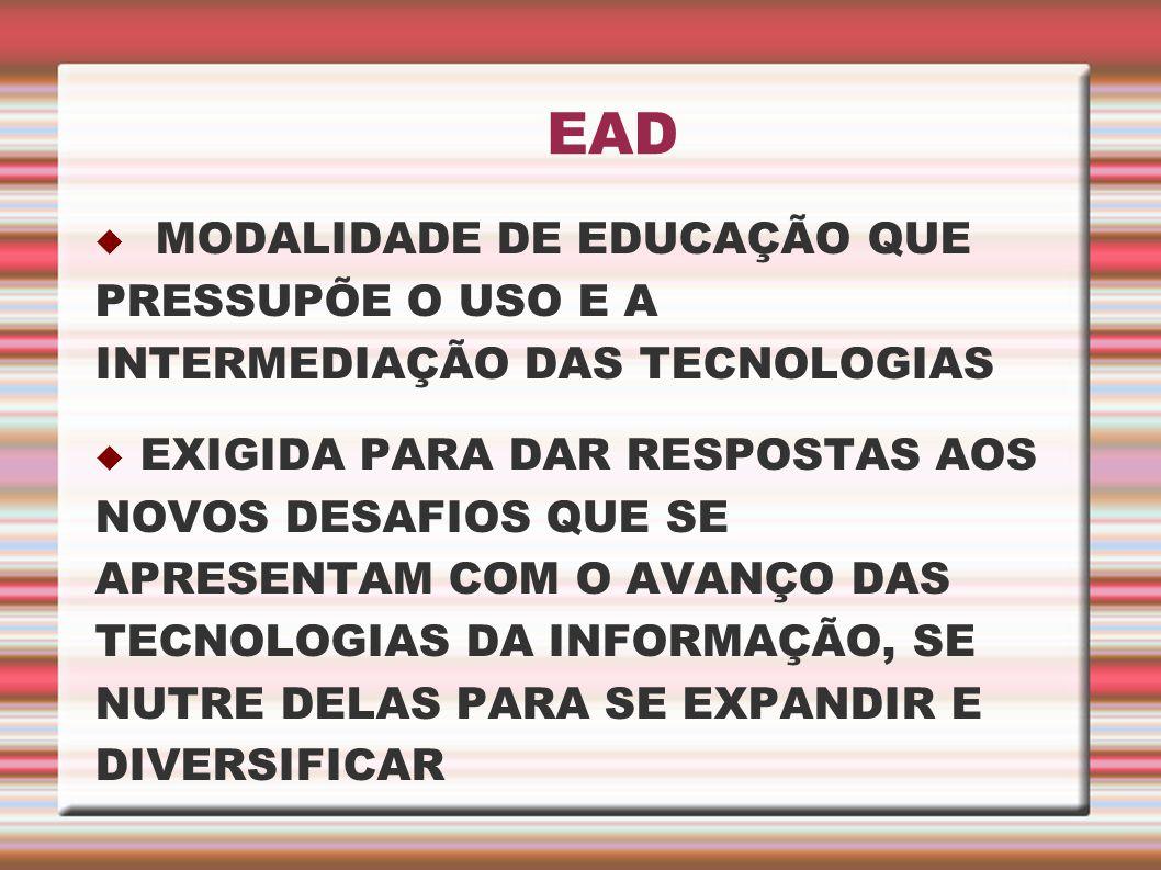 EAD MODALIDADE DE EDUCAÇÃO QUE PRESSUPÕE O USO E A INTERMEDIAÇÃO DAS TECNOLOGIAS.