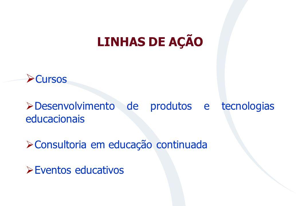 LINHAS DE AÇÃOCursos. Desenvolvimento de produtos e tecnologias educacionais. Consultoria em educação continuada.