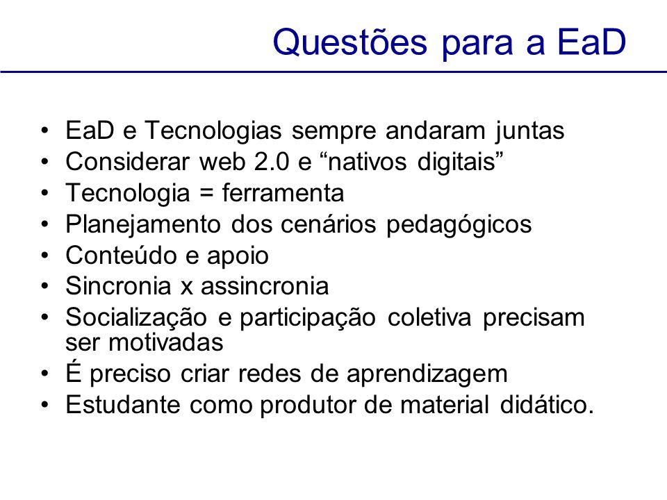 Questões para a EaD EaD e Tecnologias sempre andaram juntas