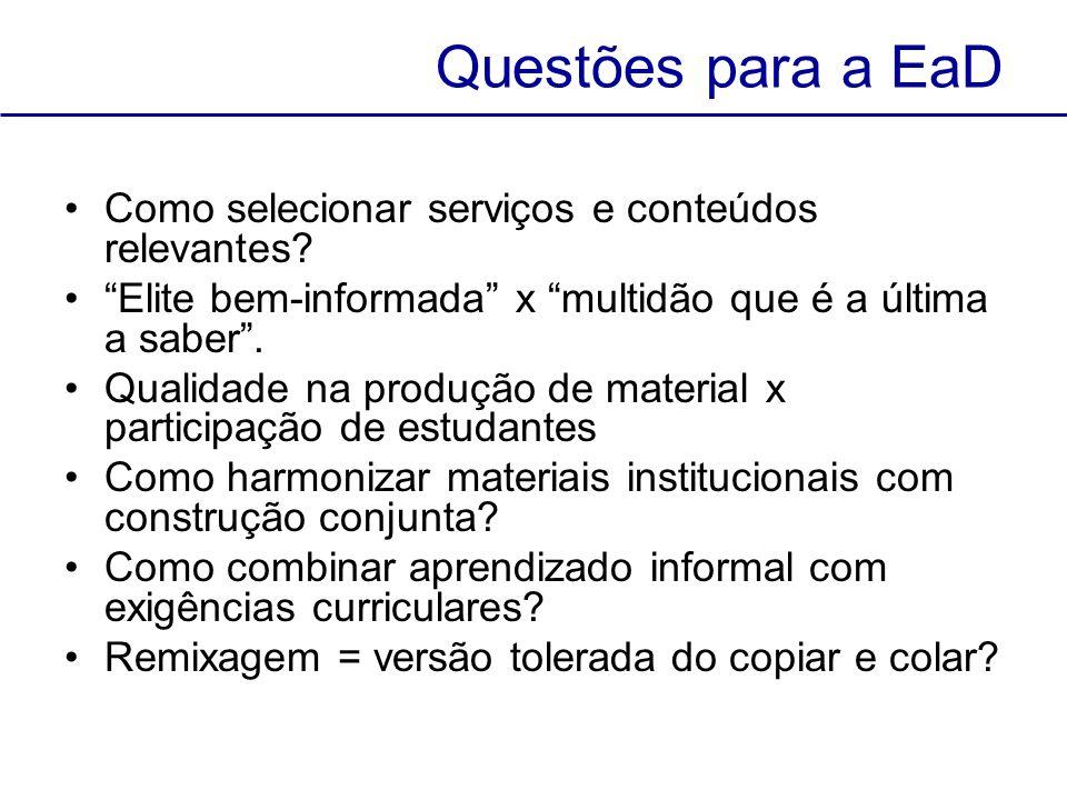 Questões para a EaD Como selecionar serviços e conteúdos relevantes