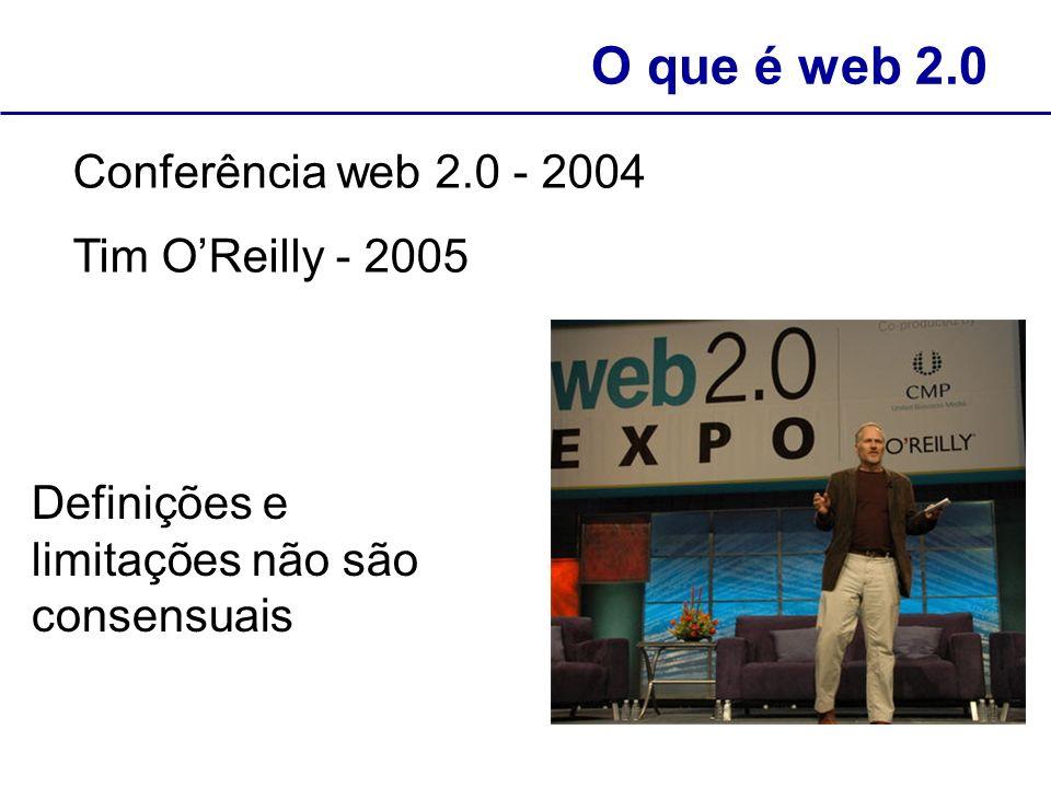 O que é web 2.0 Conferência web 2.0 - 2004 Tim O'Reilly - 2005