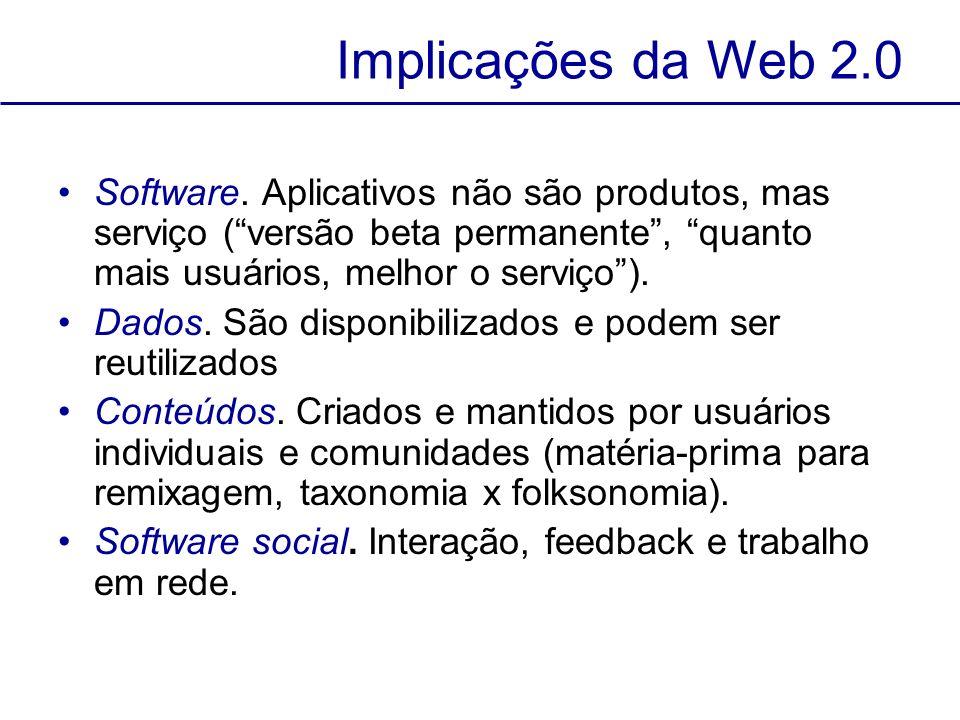 Implicações da Web 2.0 Software. Aplicativos não são produtos, mas serviço ( versão beta permanente , quanto mais usuários, melhor o serviço ).